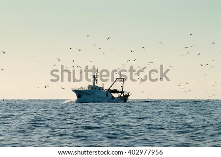 Fishing boat on the horizon , with seagulls - stock photo