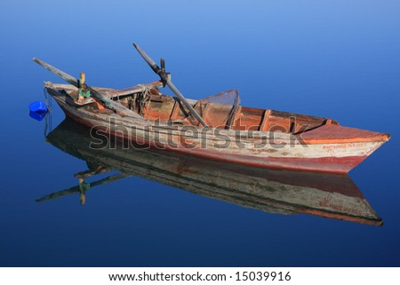 Fishing boat on the Ionian island of Lefkas Greece - stock photo
