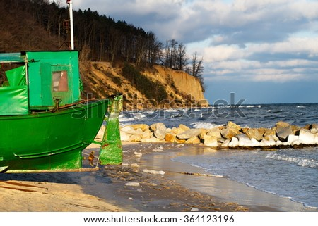 fishing boat sea - stock photo