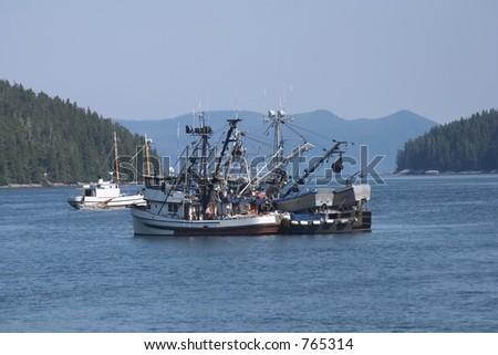 Fishing boats at anchor - stock photo