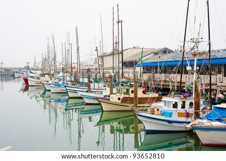 Fishing boats at Fisherman's Wharf in San Francisco - stock photo