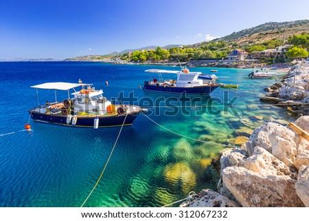 Fishing boats at the coast of Zakynthos, Greece - stock photo