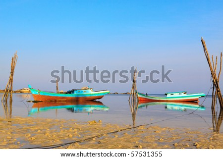 Fishing Boats, Belitung Island - stock photo