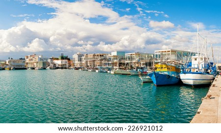 Fishing boats docked at newly constructed Limassol marina. Cyprus - stock photo