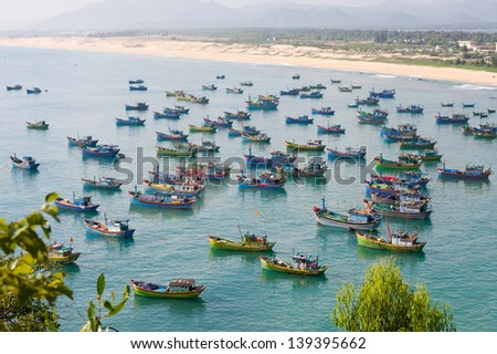 fishing boats in a bay of Vietnam - stock photo