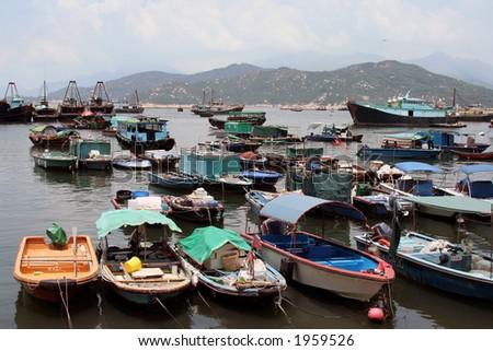 Fishing Boats in Cheung Chau - stock photo