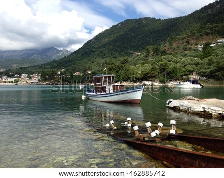 Fishing boats in Chrissi Ammoudia (Golden Beach), Potamia, Thassos, Greece