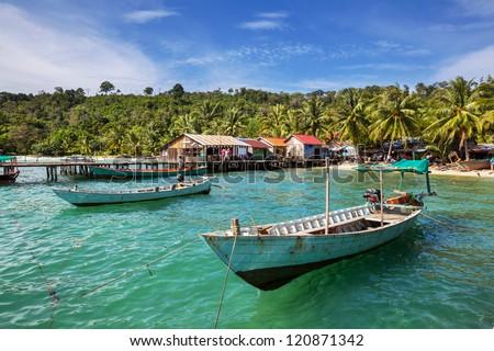 Fishing boats in Kep,Cambodia - stock photo