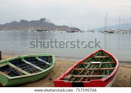 Fishing boats in Mindelo on the Sao Vicente island. Cabo Verde