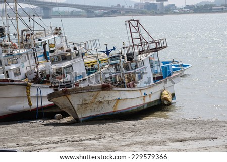 fishing boats in the harbor in Korea