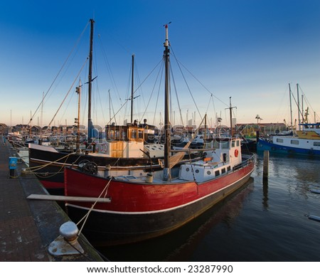fishing boats in the harbor of Urk, The Netherlands - stock photo