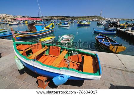 Fishing Boats, Marsaxlokk Harbour, Malta - stock photo