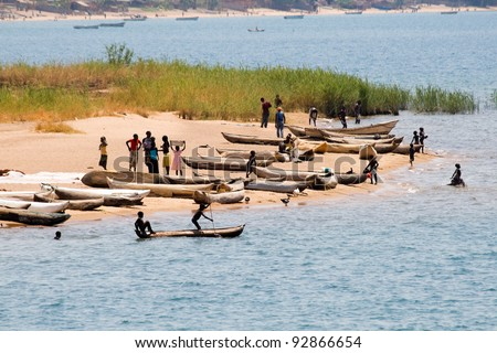 Fishing boats on Lake Malawi - stock photo