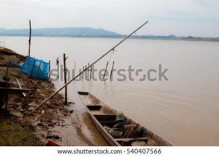 fishing boats. River khong nature landscape.