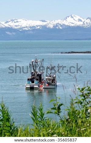 fishing boats transferring catch - stock photo