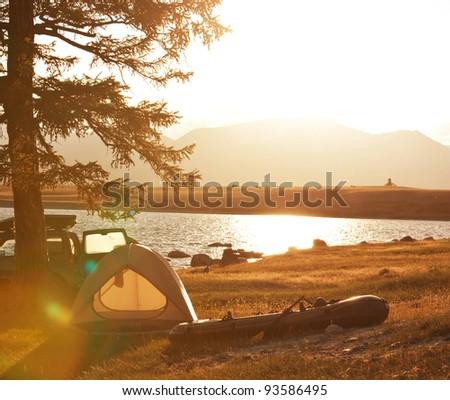 fishing camp - stock photo