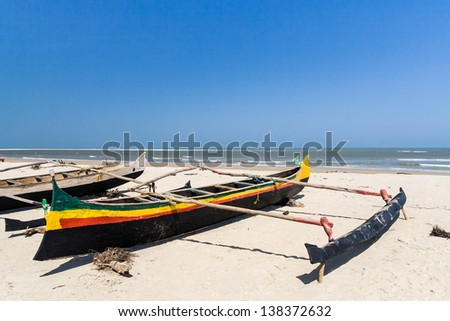 Fishing canoes on the beach of Morondava, western Madagascar