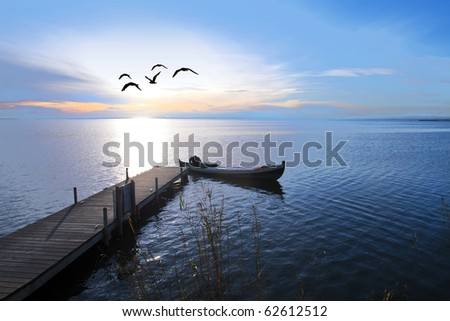 fishing day begins - stock photo