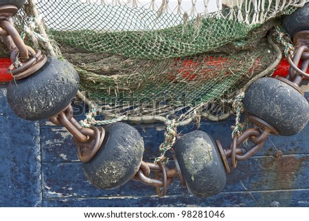 Fishing gear on a trawler in the small port B�¼sum in Germany - stock photo