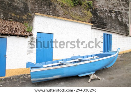 Fishing harbor Capelas coast Sao Miguel Azores islands Portugal - stock photo