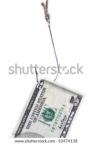 fishing hook and five dollars isolated on white - stock photo