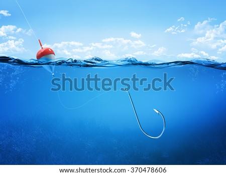 fishing hook underwater - stock photo