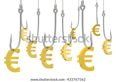 fishing hooks with symbol of euro, 3D rendering isolated on white background - stock photo