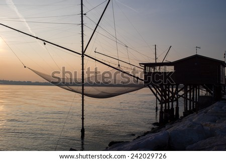 Fishing Hut - Silhouette (Sottomarina, Italy) - stock photo