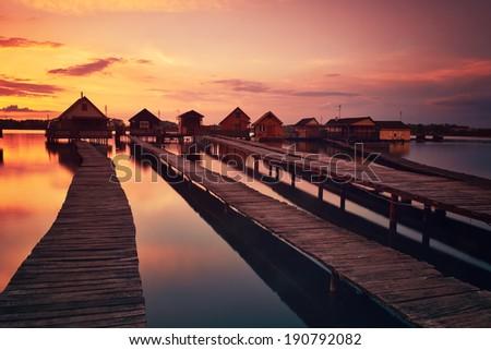 Fishing huts - stock photo