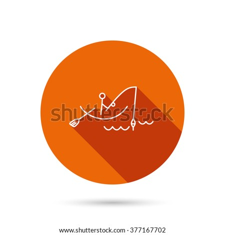 Fishing icon. Fisherman on boat in waves sign. Spinning sport symbol. Round orange web button with shadow. - stock photo