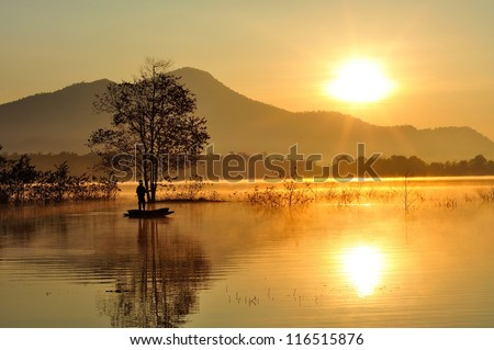 Fishing in the morning. - stock photo