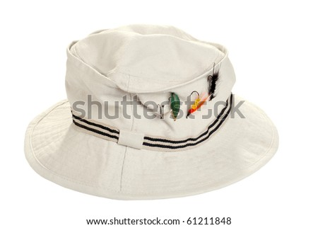 fishing khaki hat with dry flies - stock photo