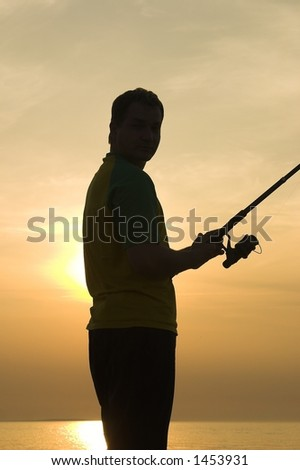 fishing-last minutes of the day - stock photo
