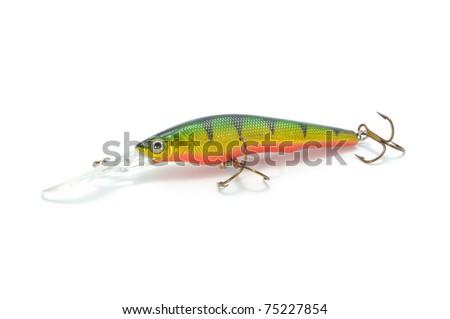 Fishing Lure (Wobbler) Isolated on White Background - stock photo
