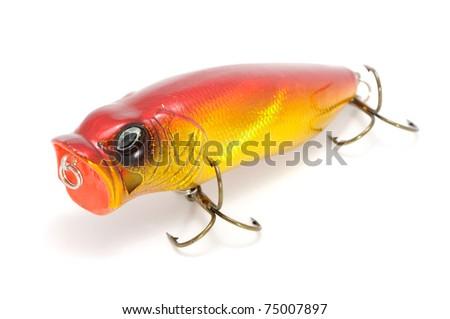 Fishing Lure (Wobbler Popper) Isolated on White Background - stock photo