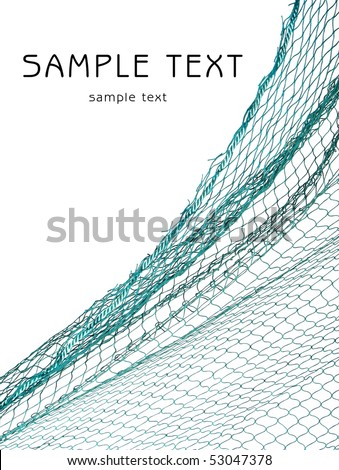 Fishing-net and easy removable text. - stock photo