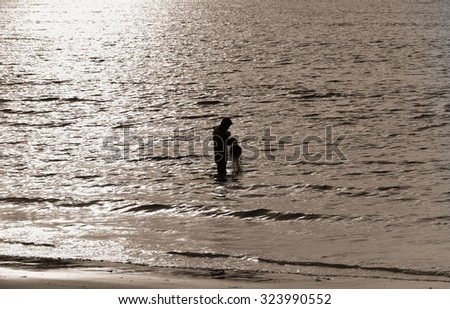 Fishing net during sunset , thai - stock photo