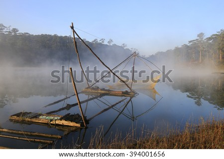 Fishing net in river