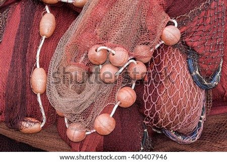 fishing net spreading out to the sun - stock photo