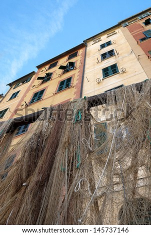 fishing nets in the village of Camogli