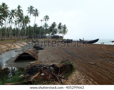 Fishing Nets on a beach in India - stock photo
