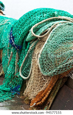 Fishing nets on the dock of the port of Honfleur - Normandy - France - stock photo
