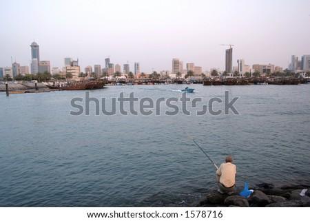Fishing on arabian gulf - stock photo