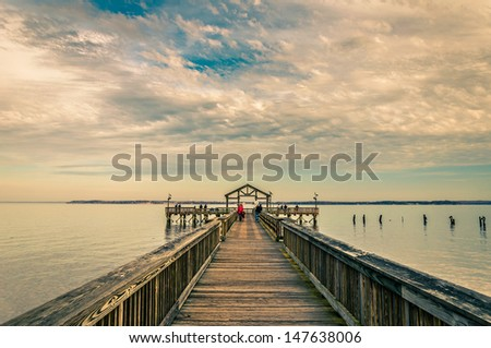 Fishing pier on the Potomac River in Leesylvania State Park, Virginia. - stock photo