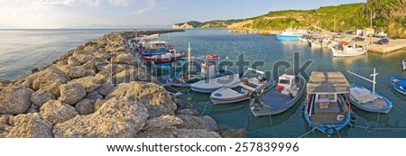 Fishing port in Agios Stefanos, Corfu - Greece - stock photo