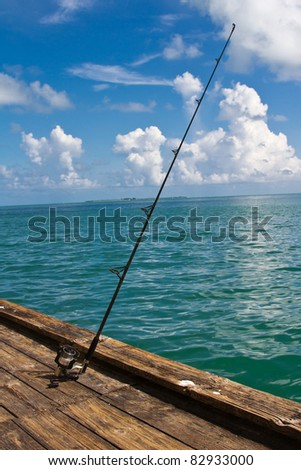 Fishing reel on pier at Florida's Anna Maria Island