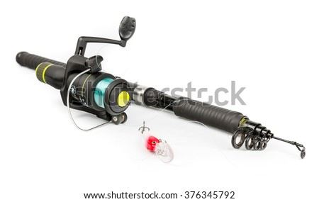 Fishing rod and bait - stock photo