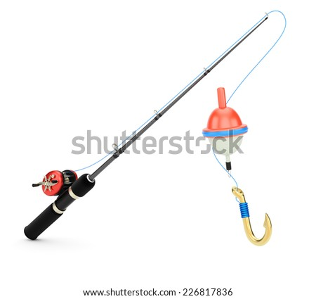 Fishing rod isolated on white background. 3d rendering image - stock photo