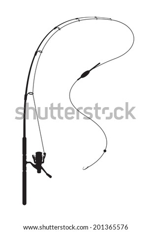 Fishing rod on white background - stock photo