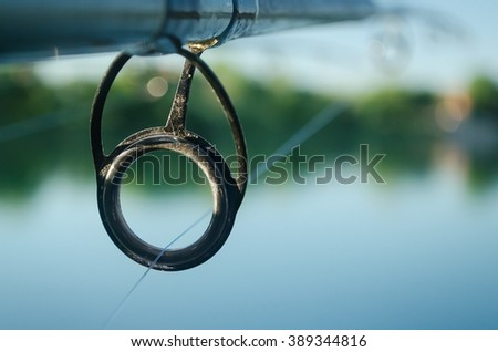 Fishing rod ring close up
